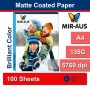 A4 135G Matte Coated Inkjet Paper