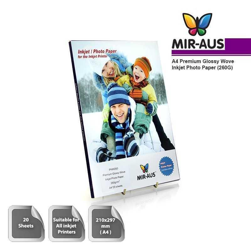 A4 260G Premium High Glossy Wove Inkjet Photo Paper