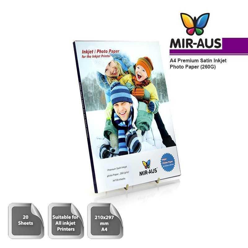 A4 260G Premium Satin Inkjet Photo Paper