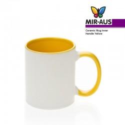 Taza de cerámica interno/mango amarillo