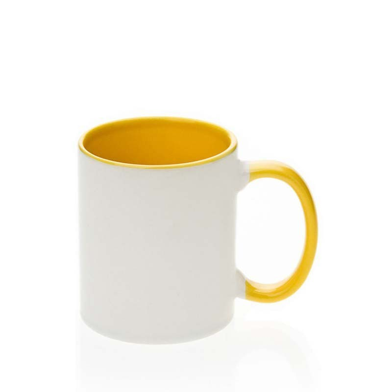 Caneca cerâmica interna/alça amarelo