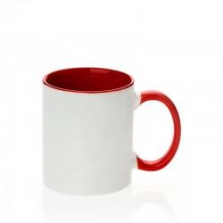 Taza de cerámica interno/mango rojo