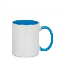 Taza de cerámica interno/mango azul claro