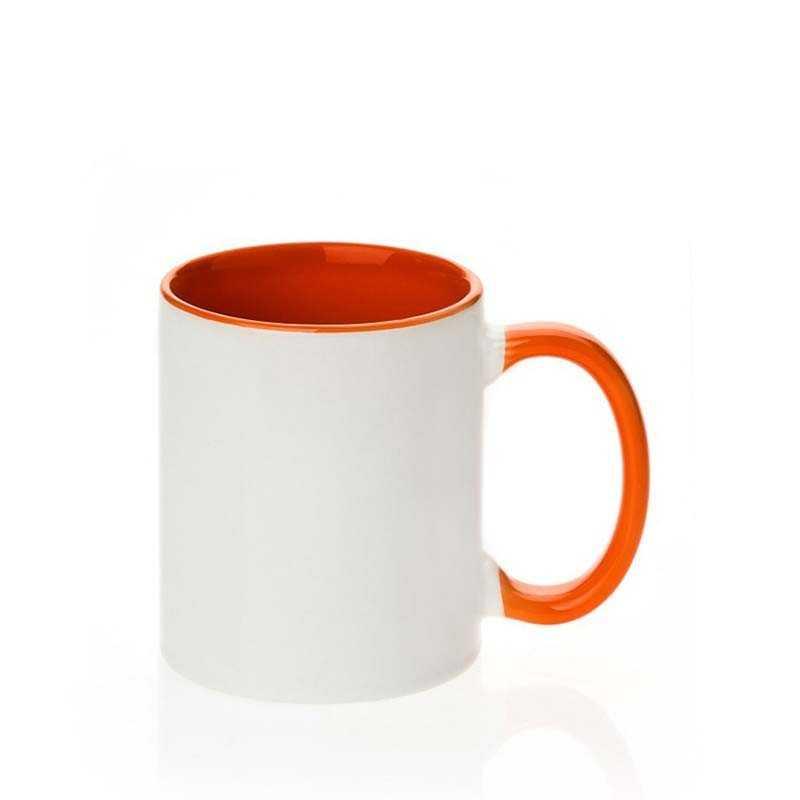 Taza de cerámica interno/mango naranja