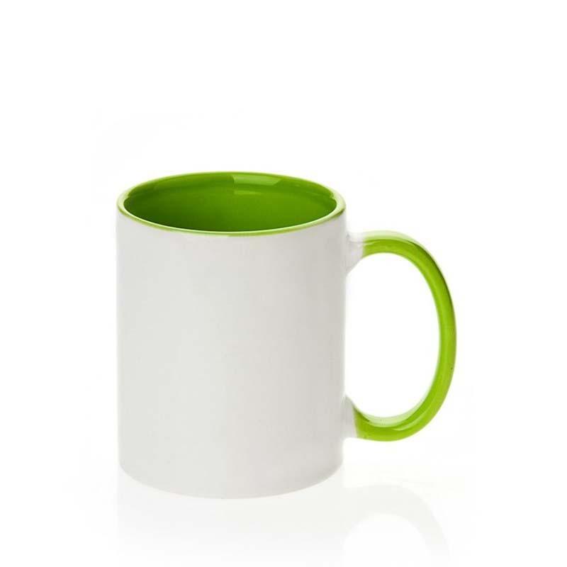 Taza de cerámica interno/mango verde claro