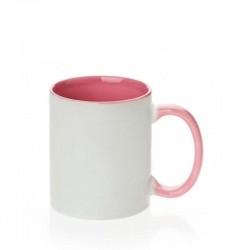 Caneca cerâmica interna/alça rosa