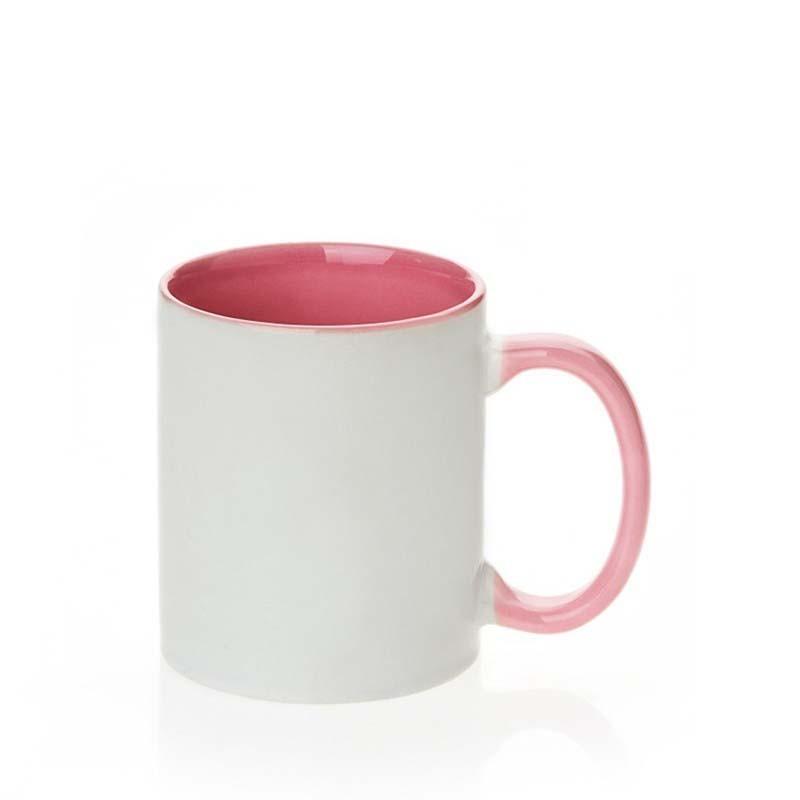 Mug in ceramica rosa maniglia interna