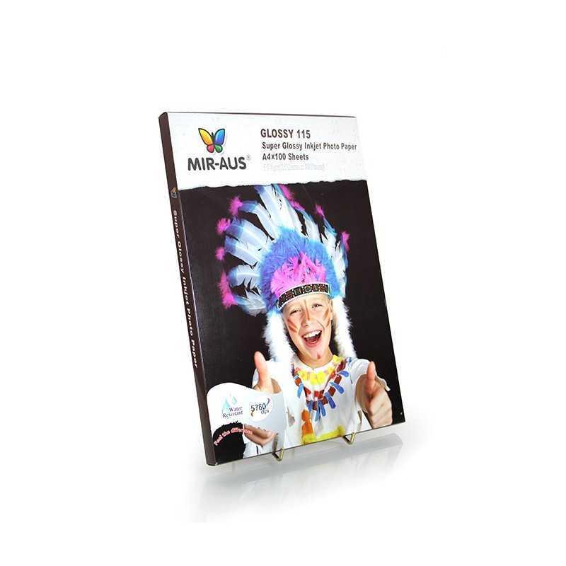Papel de elevado da foto Glossy Inkjet A4 115g Super 100 folhas