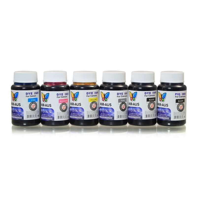 120 ml 6 färger färgämne/pigmentbaserat bläck för Canon CLI-526