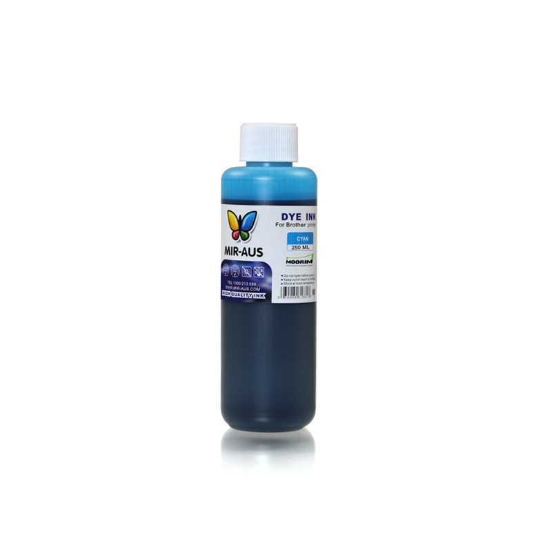 Cyan refillable dye ink 250ml for Brother printers