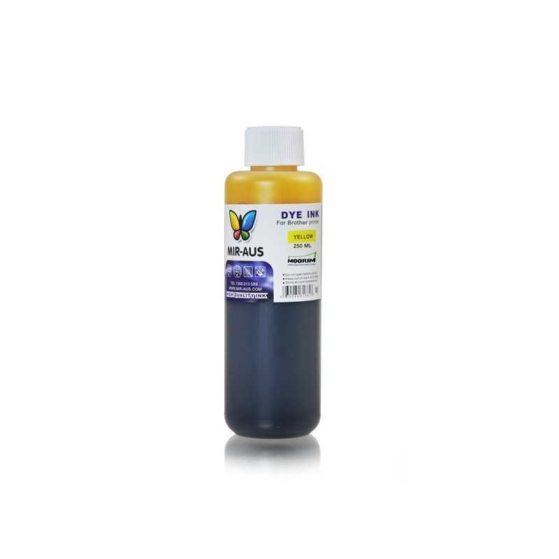 Yellow refillable dye ink 250ml for Brother printers