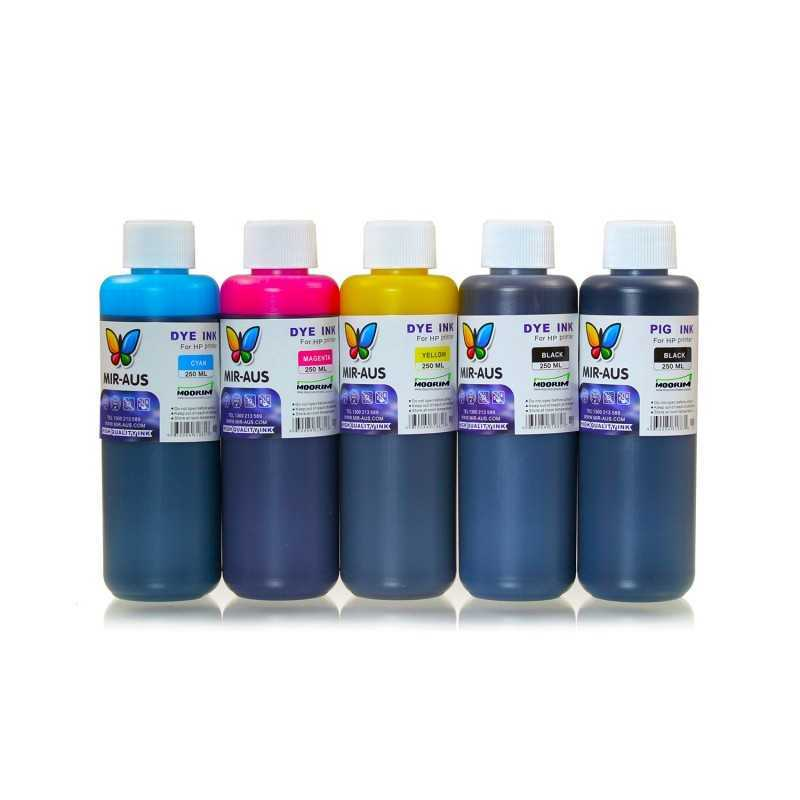 250 ml 5 Colours dye/pigment ink for HP printers