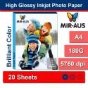 A4 180 G tinggi Inkjet Photo kertas Glossy