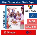 A3 240g papel Inkjet Photo alto brilhante