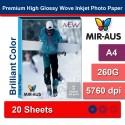 A4 260 G Premium tinggi Glossy menjalin Inkjet Photo kertas