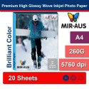 A4 260 G Premium høj blankt Wove Inkjet fotopapir