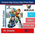 A4 260 G alta brillante Inkjet papel fotográfico Premium