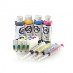 Refillable cartridges suitable Epson Expression Home XP-432 dye