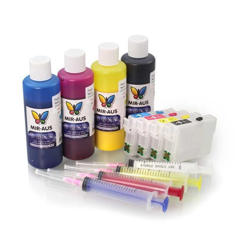 Refillable cartridges suitable Epson WorkForce WF-3640 pigment