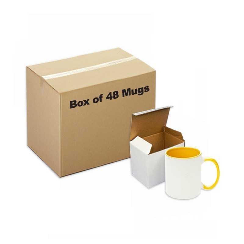 Ceramic Mug Inner Handle Yellow 48 pieces