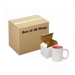 Sublimation Ceramic Mug Inner Handle Pink 48 pieces