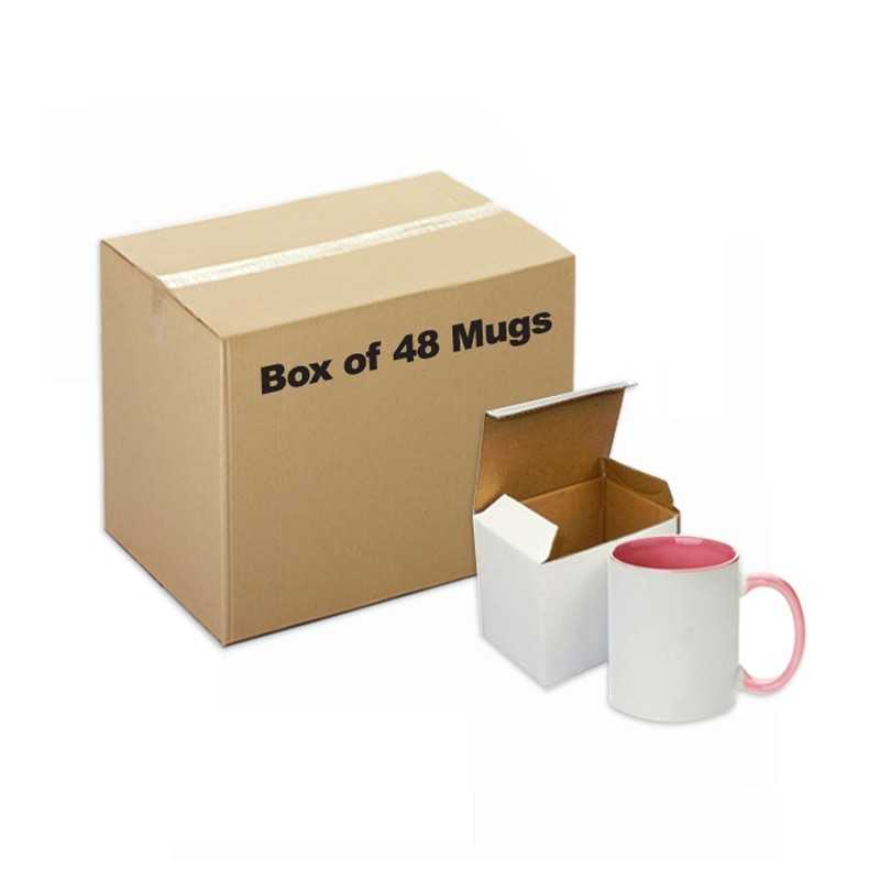 Ceramic Mug Inner Handle Pink 48 pieces