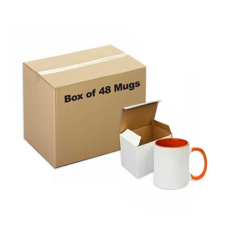 Ceramic Mug Inner Handle orange 48 pieces