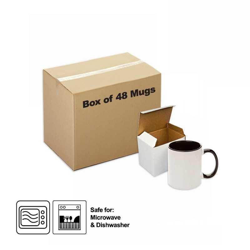 Sublimation Ceramic Mug Inner Handle Black 48 pieces