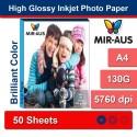 A4 130G High Glossy Inkjet Photo Paper