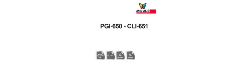 Código de cartucho de tinta recargable 250 ml: CLI PGI-650-651